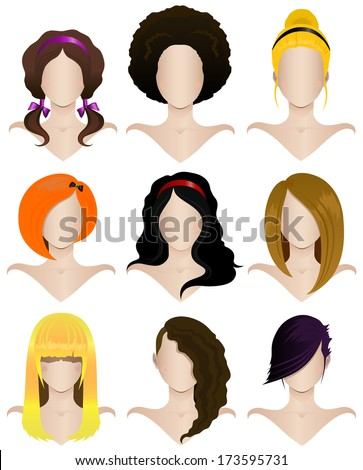 Vector illustration of a set of nine women's hairstyles - stock vector