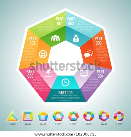 Vector illustration of a set of polygon infographic elements, with provided are 3, 4, 5, 6, 7, 8, 9 and 10 parts polygon sets. - stock vector