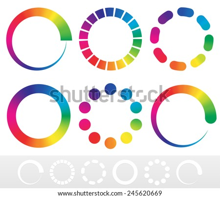 Vector illustration of a set of preloader, buffer shapes or color wheels - stock vector