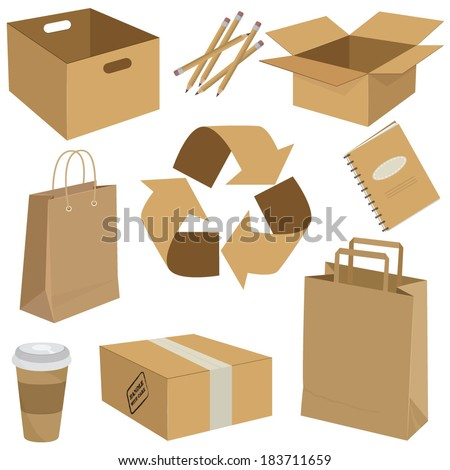 Vector illustration of a set of recycled cardboard boxes, packages and other objects  - stock vector