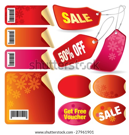 Vector illustration of a set of red sale stickers and tags and labels. - stock vector