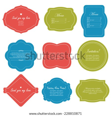 Vector illustration of a set of scrapbook design frame for Christmas and New Year holidays, tags, labels, discount cards - stock vector