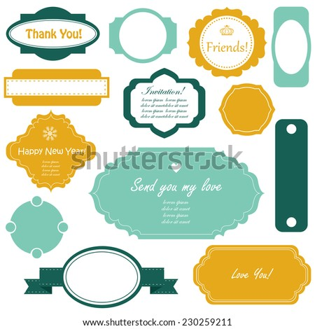 Vector illustration of a set of scrapbook design frames for Christmas and New Year holidays, birthdays and gifts - tags, labels, discount cards - stock vector