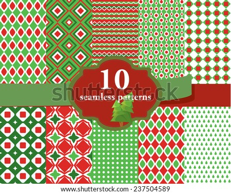Vector illustration of a set of seamless backgrounds in red and green Christmas colors - stock vector