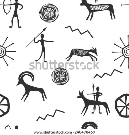 Vector illustration of a set of seamless pattern with petroglyphs - stock vector