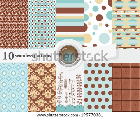 Vector illustration of a set of seamless patterns and backgrounds in bright blue and brown colors, romantic, chocolate theme. - stock vector