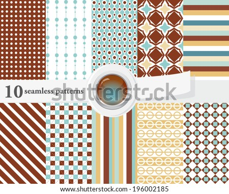 Vector illustration of a set of seamless patterns and backgrounds in brown and blue tender colors.  - stock vector