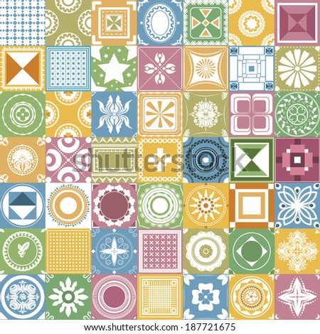 Vector illustration of a set of seamless patterns for backgrounds, tiles and other designs - stock vector