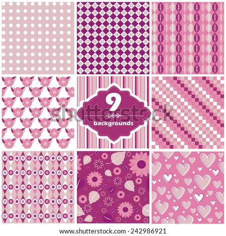 Vector illustration of a set of seamless patterns in festive bright colors for St. Valentine's designs