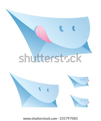 Vector illustration of a set of smiling envelopes. Can be easily colored and used in your design. - stock vector