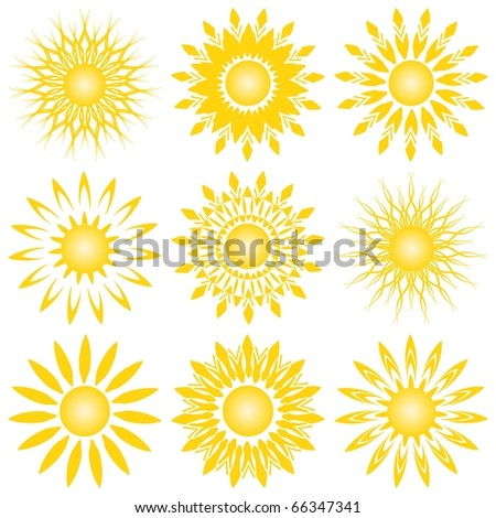vector illustration of a set of sun - stock vector