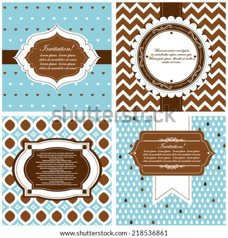 Vector illustration of a set of tags, labels, postcard templates in chocolate, brown colors
