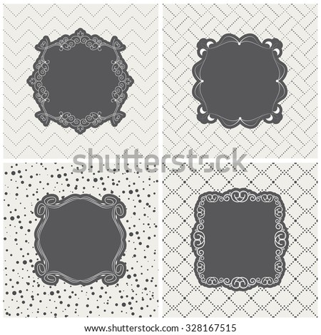Vector illustration of a set of tags, labels with blank calligraphic frames in the center for you arts and design - stock vector