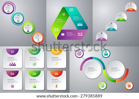 Vector illustration of a set of templates infographics - stock vector