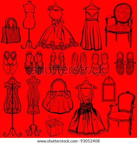 Vector illustration of a set of woman accessories - stock vector