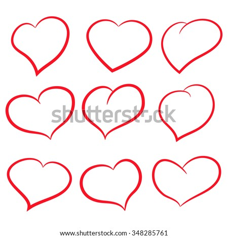 Vector illustration of a set red hearts on white - stock vector
