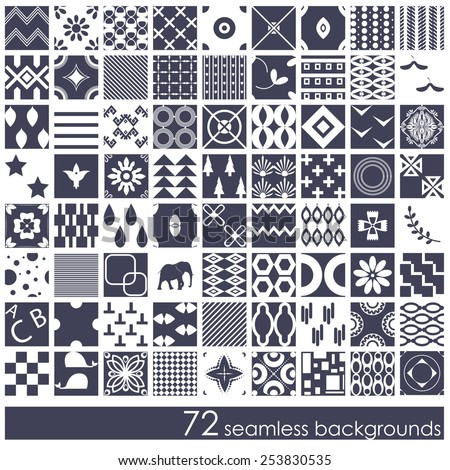 Vector illustration of a set 72 seamless background patterns, monochromatic - stock vector
