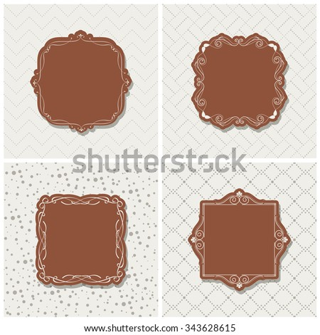 Vector illustration of a set seamless backgrounds and blank calligraphic frame in the center for your arts and design