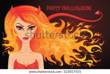 Vector illustration of a sexy devil with hair in a shape of fire.  - stock vector