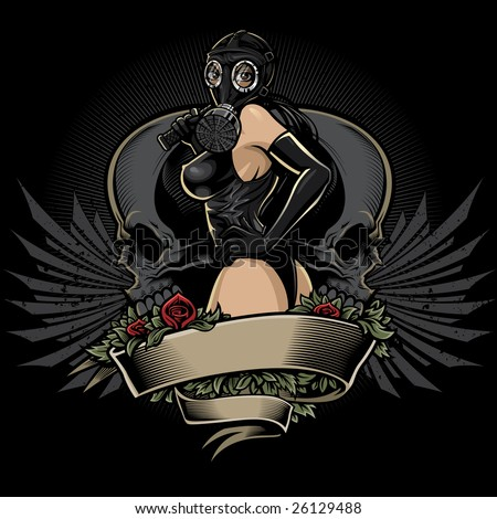 Vector illustration of a sexy dominatrix wearing a gas mask, leather body suit and gloves holding a braided leather whip. Design elements include red roses, blank banner, skulls and gothic wings. - stock vector