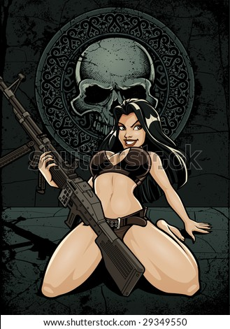 Vector illustration of a sexy girl holding a massive m60 machine gun between her legs in front of an old stone skull medallion with tomb background - stock vector