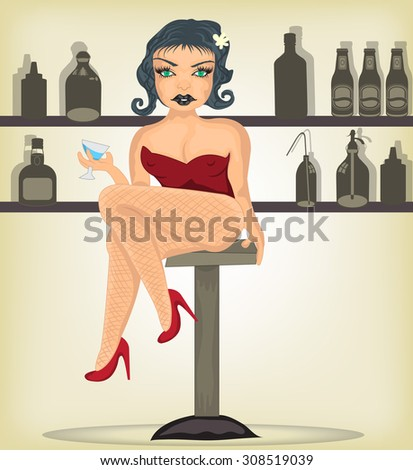 Vector illustration of a sexy girl in high heels, holding a cocktail glass . - stock vector