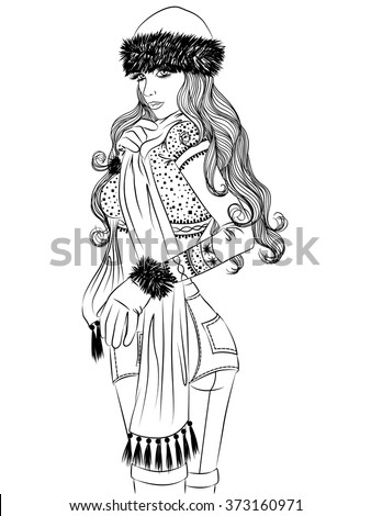 Vector illustration of a sexy girl in winter clothing standing sideways outline