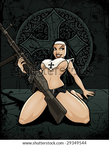 Vector illustration of a sexy, half-naked catholic nun holding a massive m60 machine gun between her legs in front of an old stone cross medallion - stock vector
