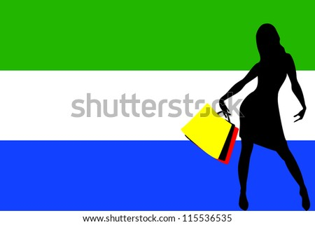 Vector Illustration of a sexy woman silhouette with shopping bags with the flag of Sierra Leone