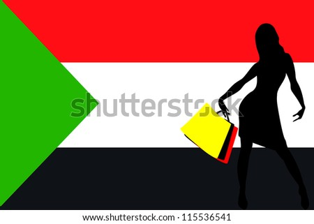 Vector Illustration of a sexy woman silhouette with shopping bags with the flag of Sudan