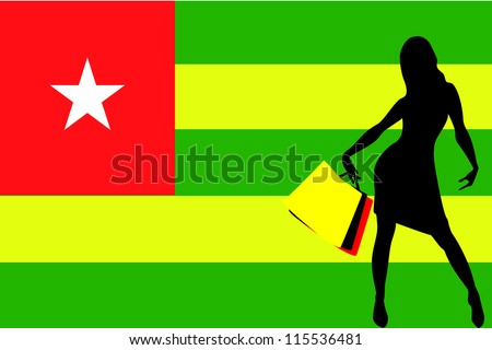 Vector Illustration of a sexy woman silhouette with shopping bags with the flag of Togo