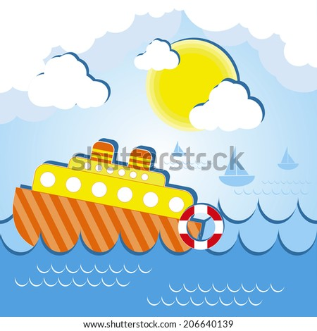 Vector illustration of a ship at the sea