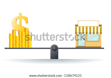 Vector illustration of a shop on a scale with heaps of gold dollar coins. - stock vector