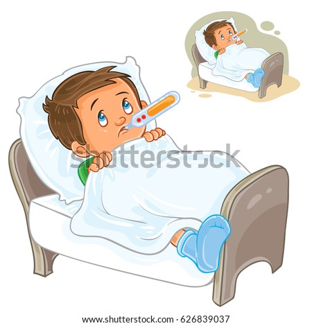 Vector illustration sick little boy lies stock vector 2018 vector illustration of a sick little boy lies in bed with a thermometer print altavistaventures Images