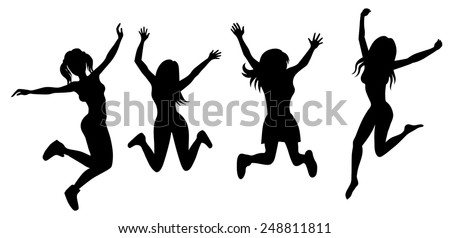 Vector illustration of a silhouette of jumping girls - stock vector