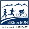vector illustration of a silhouette of marathon runner and cyclist  race with mountains and words bike and run done in retro style - stock photo