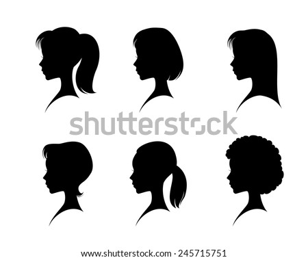 Vector illustration of a silhouettes head girls - stock vector