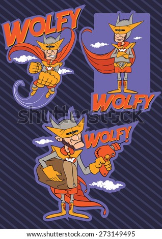 Vector illustration of a silly superhero comic character - stock vector