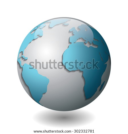 Vector illustration of a silver globe with blue continents