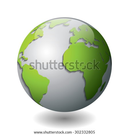 Vector illustration of a silver globe with green continents