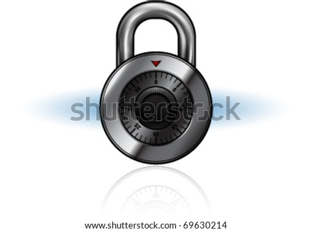 Vector illustration of a silver metal combination lock.