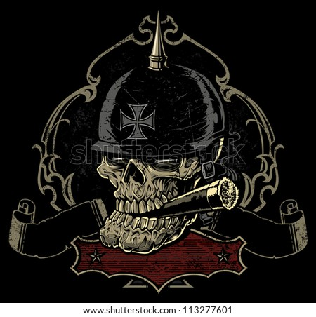 Vector illustration of a sinister looking old biker skull smoking a cigar in front of an ornate retro spade frame, two worn, tattered banners, and an extra frame for copy below. - stock vector