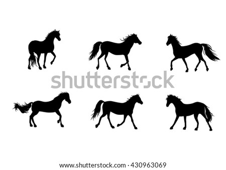 Vector illustration of a six horses silhouettes
