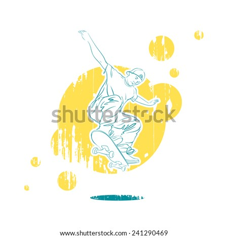 Vector illustration of a skateboarder drawn in sketch style on a grungy background - stock vector