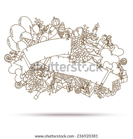 Vector Illustration of a sketch element for Happy Birthday Greeting Card. Doodle style.  - stock vector