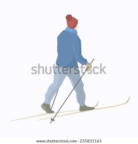 Vector illustration of a skier gliding on a snow-covered backcountry. Winter recreational activities and active lifestyle illustration. Advertising design elements. - stock vector