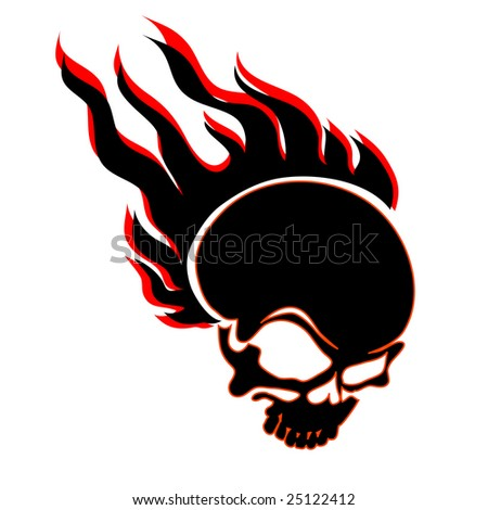 vector illustration of a skull in flames - stock vector