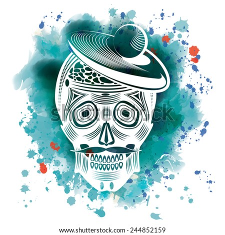 Vector illustration of a skull in graphic style on a bright watercolor background, eps 10