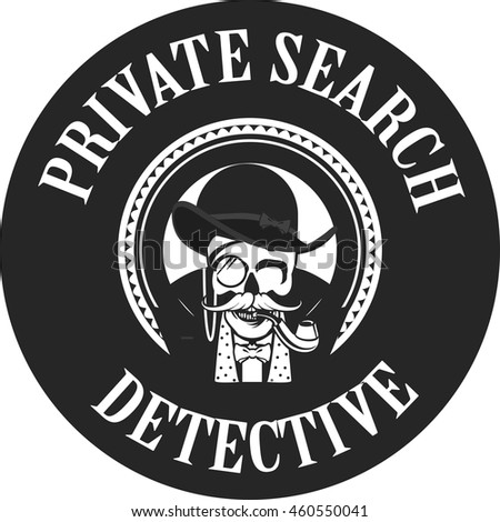 vector illustration skull pipe private investigator stock vector