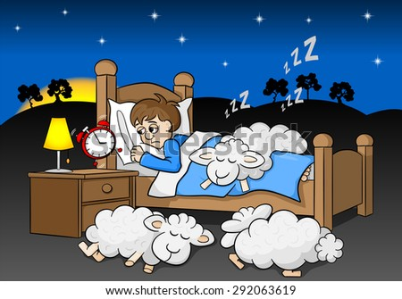 vector illustration of a sleepless man wakes up in the morning by the alarm clock - stock vector